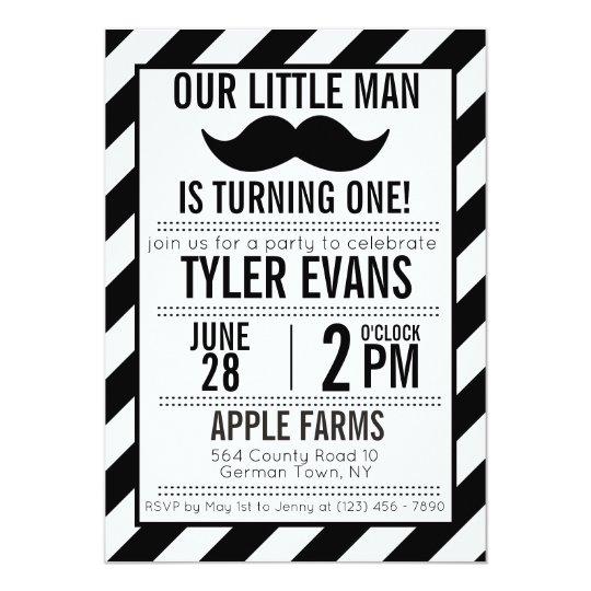 Our Little Man Mustache Birthday Invitation Zazzle Com