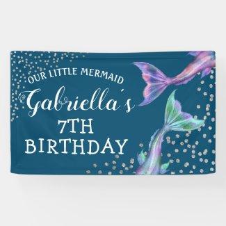 Our Little Mermaid Glitter Birthday Banner