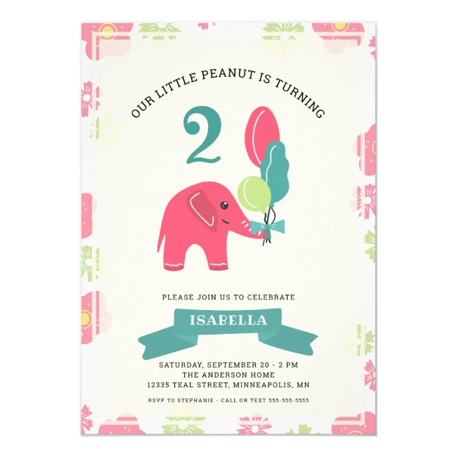 Our Little Peanut Elephant | Girl 2nd Birthday Invitation