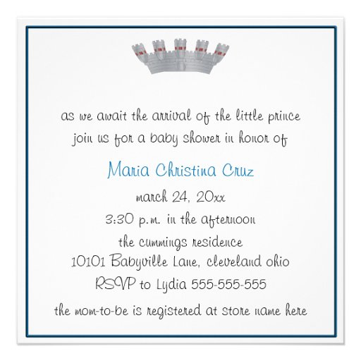 Our Little Prince Baby Shower Invitation