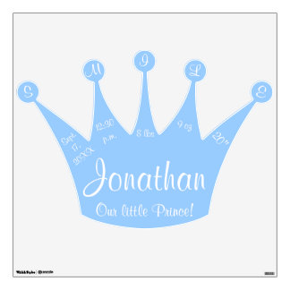 Our Little Prince Blue Crown Birth Stats Wall Sticker