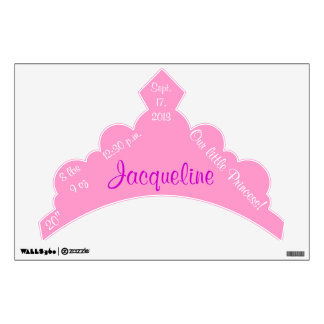 Our Little Princess Pink Tiara Birth Stats Wall Sticker