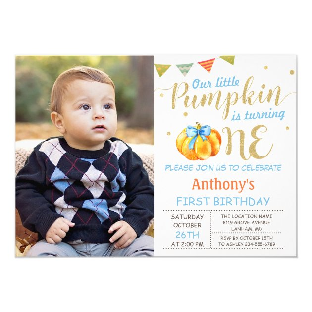 Our Little Pumpkin Baby Boy 1st Birthday Photo Card (back side)