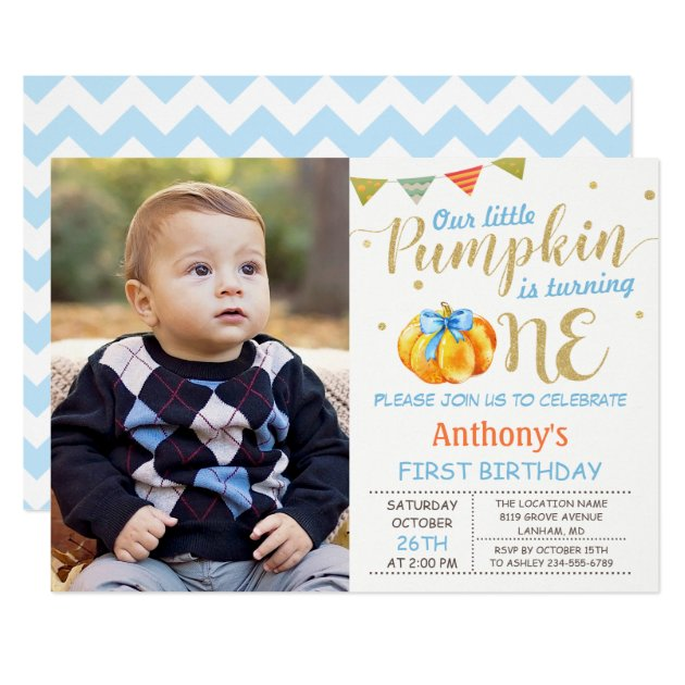 Baby 1st Birthday Party Invitations Our Little Pumpkin Boy Photo Card