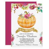 Our Little Pumpkin Elegant Floral Invitation