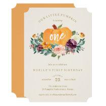 Our Little Pumpkin First Birthday Invitation