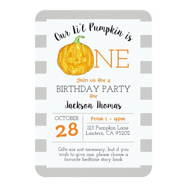Our Little Pumpkin is One First Birthday Invitation