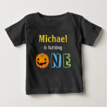Our Little Pumpkin is Turning One Happy Halloween Baby T-Shirt