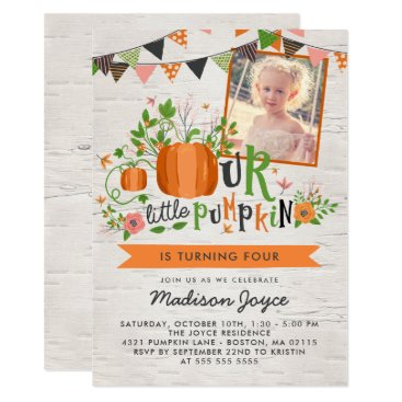 Halloween Themed Our Little Pumpkin Kids Birthday Party Photo Card