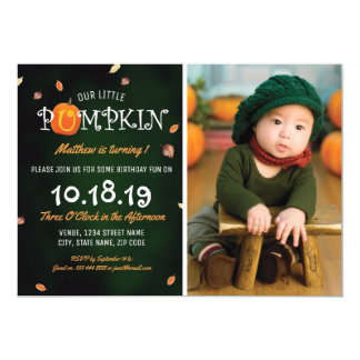 Our Little Pumpkin Photo 1st Birthday Party Card