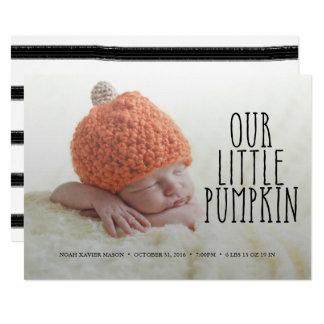 Our Little Pumpkin Soft Black Birth Announcement