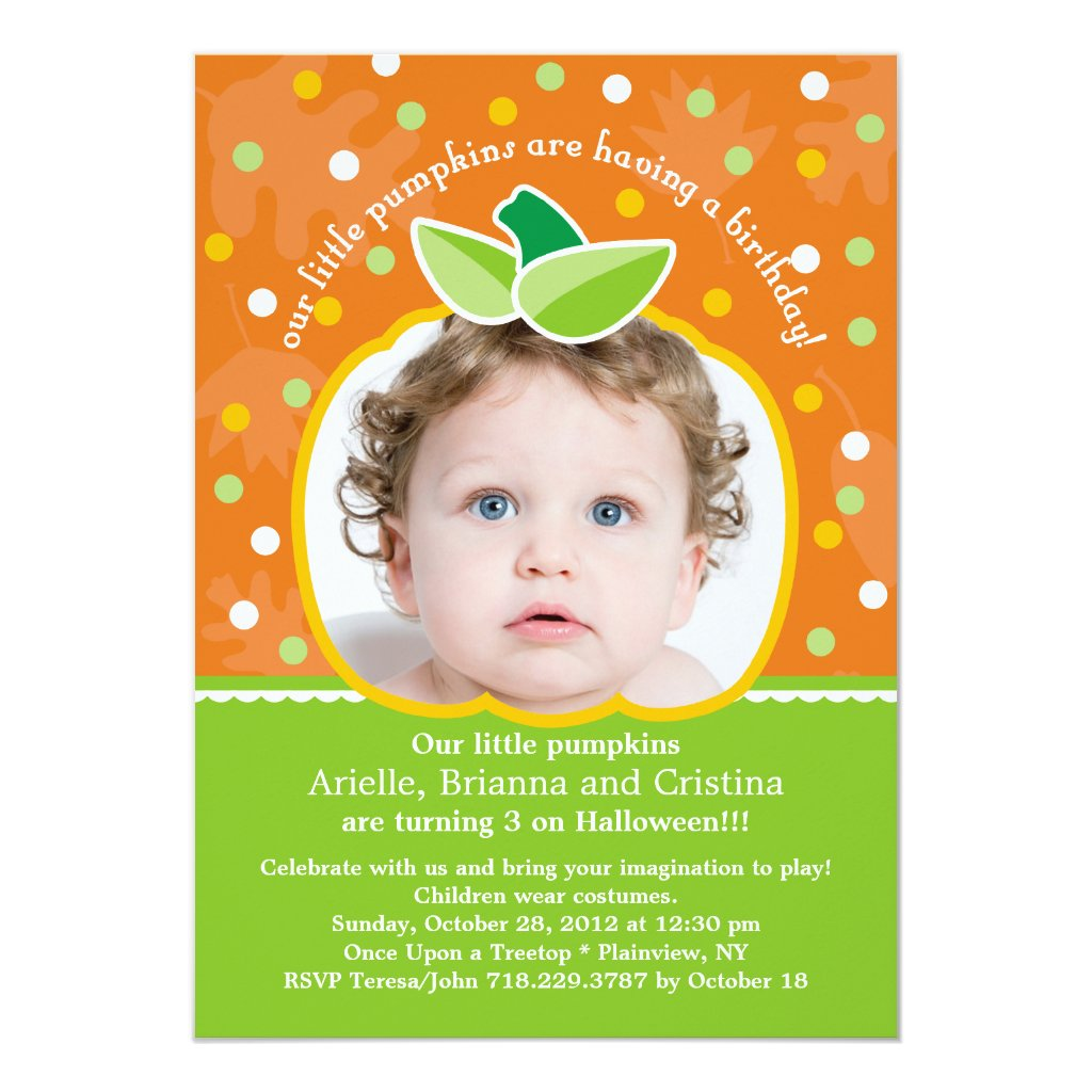 Our Little Pumpkins Birthday Party Invitation