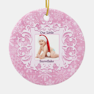 Our Little Snowflake Christmas Holiday Photo Pink Ceramic Ornament