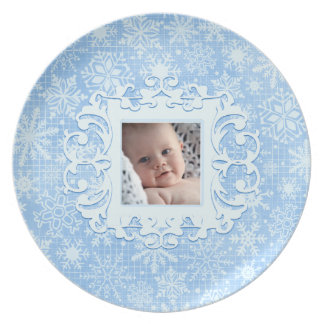 Our Little Snowflake Custom Christmas Photo Blue Dinner Plate