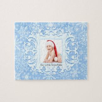 Our Little Snowflake Custom Christmas Photo Blue Jigsaw Puzzle