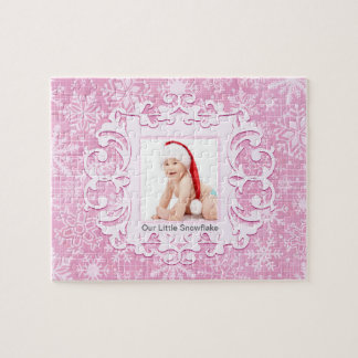 Our Little Snowflake Custom Christmas Photo Pink Jigsaw Puzzle