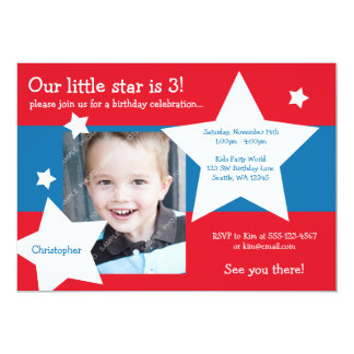 Our Little Star Red, White, and Blue Boy Birthday 5x7 Paper Invitation Card
