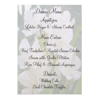 "Our Love Blossoms Menu Cards 5"" X 7"" Invitation Card"