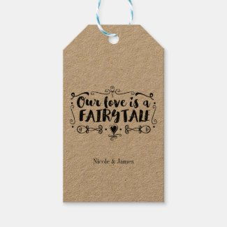 OUR LOVE IS A FAIRY TALE Custom Wedding Favor Gift Tags