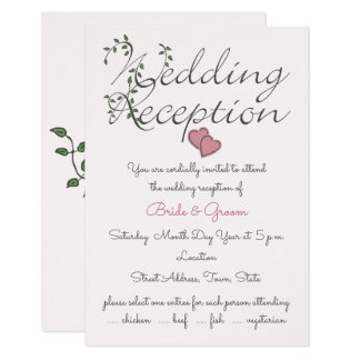 Our Love is Deeply Rooted Wedding Reception Card