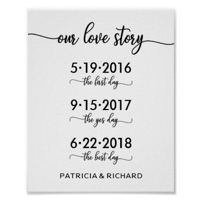 Our Love Story Special Dates Timeline Wedding Sign