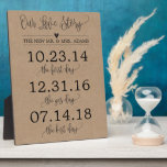 """Our Love Story Timeline Wedding Sign Decor Plaque<br><div class=""""desc"""">Rustic kraft Calligraphy love story dates wedding sign decor perfect for your reception,  ceremony,  or anniversary gift!</div>"""