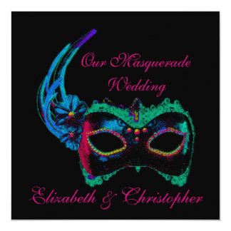 """""""Our Masquerade Wedding"""" - Blue and Pink Card"""
