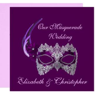"""Our Masquerade Wedding"" - Royal Purple Mask [b] Card"