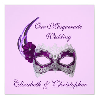 """Our Masquerade Wedding"" - Royal Purple Mask Card"