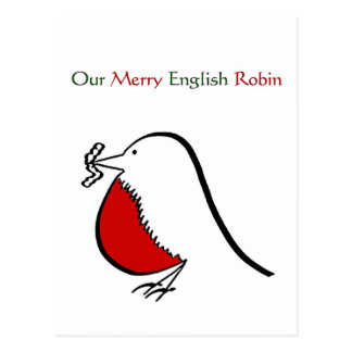 Our Merry English Robin Postcard