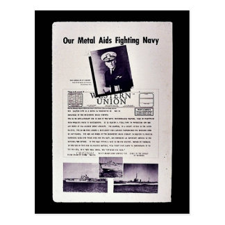 Our Metal Aids Fighting Navy, Western Union Postcard