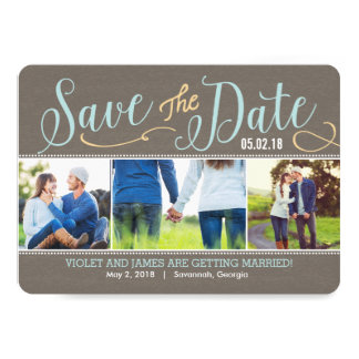 Our Moments Save The Date Card - Blue