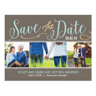 Our Moments Save The Date Postcard - Blue