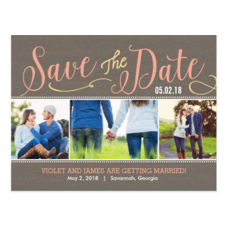 Our Moments Save The Date Postcard - Peach