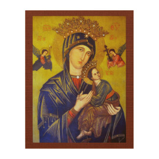 OUR MOTHER OF PERPETUAL HELP SACRED IMAGE WOOD WALL ART