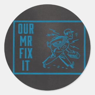 Our Mr Fix it Blue Chalkboard Classic Round Sticker