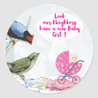 Our Neighbors have-a-new baby Girl Classic Round Sticker