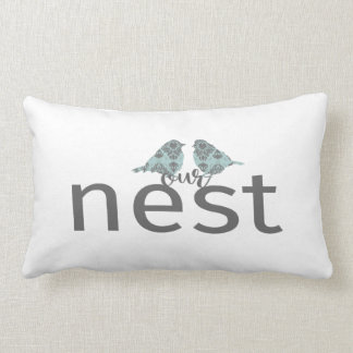 Our Nest Gray & Blue With Two Birds Lumbar Pillow