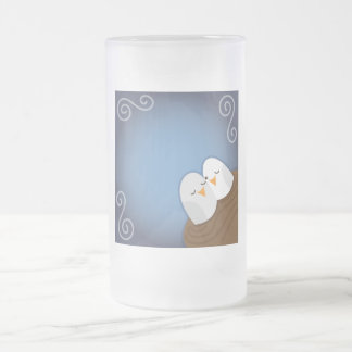 Our Nest is Blessed with Sapphire love birds Frosted Glass Beer Mug