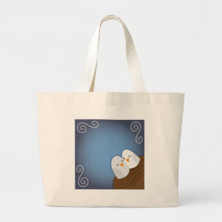 Our Nest is Blessed with Sapphire love birds Large Tote Bag