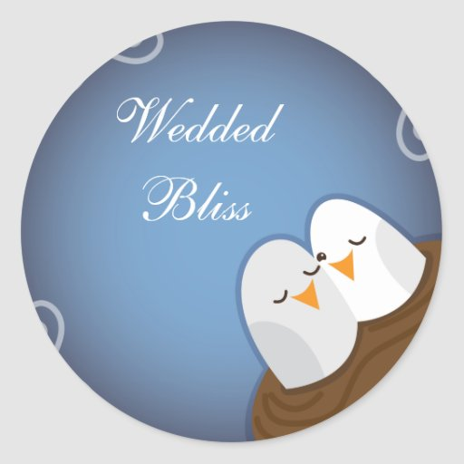 Our Nest is Blessed with Sapphire love birds Classic Round Sticker