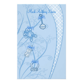 Our New Addition In Blue Hues Personalized Stationery