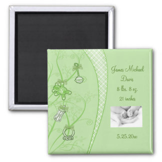 Our New Addition In Green Hues 2 Inch Square Magnet