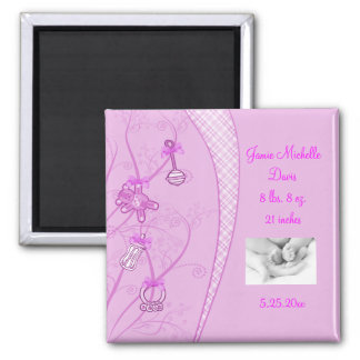 Our New Addition In Pink Hues 2 Inch Square Magnet