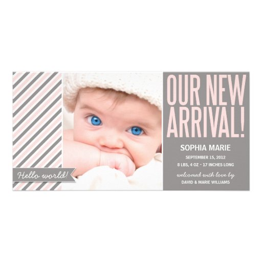 OUR NEW ARRIVAL IN PINK   BIRTH ANNOUNCEMENT