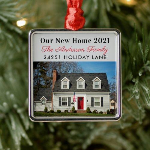 Our New Home Elegant Custom Photo Metal Ornament