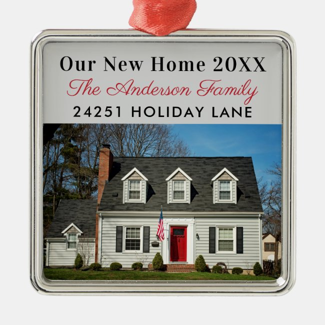 Our New Home Photo Address Holiday Keepsake Metal Ornament