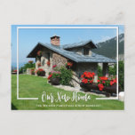 """Our New Home Photo We&#39;ve Moved Announcement<br><div class=""""desc"""">Our new home photo moving announcement postcard with a white frame,  fun fonts and message. Add a photo of your new home and have it highlighted by the white frame. An easy way to let your friends and family know you have moved.</div>"""