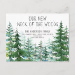 Our New Neck of the Woods Pine Spruce Trees Moving Announcement Postcard