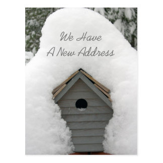 Our New Nest Cute Winter Birdhouse Moving Postcard